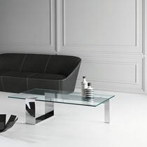 Table basse contemporaine / en verre trempé / en métal chromé / rectangulaire