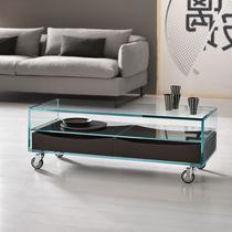 Table basse contemporaine / en cerisier / en verre / en cuir