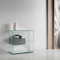 Étagère contemporaine / en bois / en verre / avec tiroir