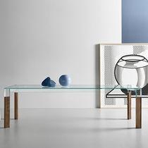 Table à manger contemporaine / en bois / en verre / rectangulaire