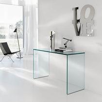 Console contemporaine / en verre / rectangulaire / transparente