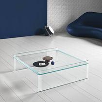 Table basse contemporaine / en verre / rectangulaire / carrée