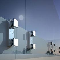 Système de fixation en aluminium anodisé / pour façade en verre