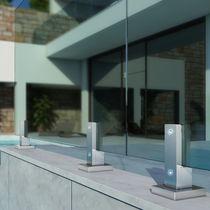 Garde-corps en aluminium / à panneaux en verre / d'extérieur / pour terrasse
