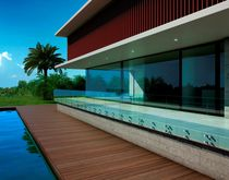 Garde-corps en aluminium / à panneaux en verre / d'extérieur / pour balcon