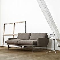 Canapé contemporain / en tissu / en cuir / en acier inoxydable
