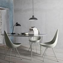 Chaise design scandinave / tapissée / en cuir / en acier