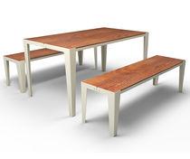Ensemble table et bancs contemporain / en métal / en MDF stratifié / d'extérieur