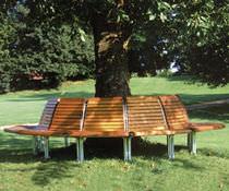 Corset d'arbre en bois / avec banc public intégré