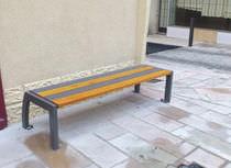 Banc public / contemporain / en bois / en métal