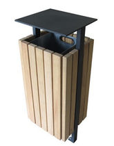 Poubelle publique / en bois / avec cendrier intégré / contemporaine