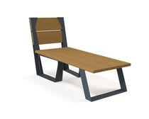 Chaise longue contemporaine / en bois / d'extérieur / pour espace public