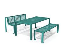 Ensemble table et bancs contemporain / en métal / extérieur / pour espace public
