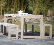 Ensemble table et bancs contemporain / en aluminium / de jardin / d'extérieur