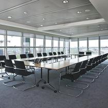 Table de réunion contemporaine / en bois / rectangulaire / pour établissement public