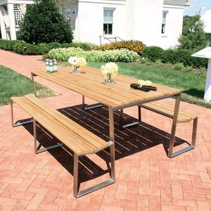 table mange debout contemporaine en teck ronde de jardin shoreham 7326 country. Black Bedroom Furniture Sets. Home Design Ideas