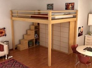 lit double mezzanine contemporain en bois - Mezzanine Chambre Lit Double