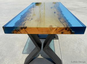 Table à Manger Contemporaine En Bois époxy Rectangulaire