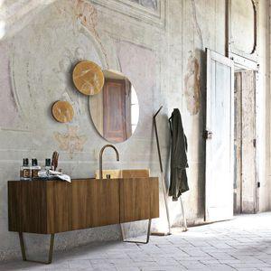 Meuble Vasque Poser En Bois Contemporain Avec Miroir