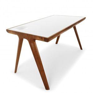 bureau en chne en noyer en cuir design scandinave - Bureau Design Scandinave