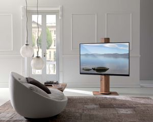 support tv sur pied contemporain pivotant en bois - Support Tv Design