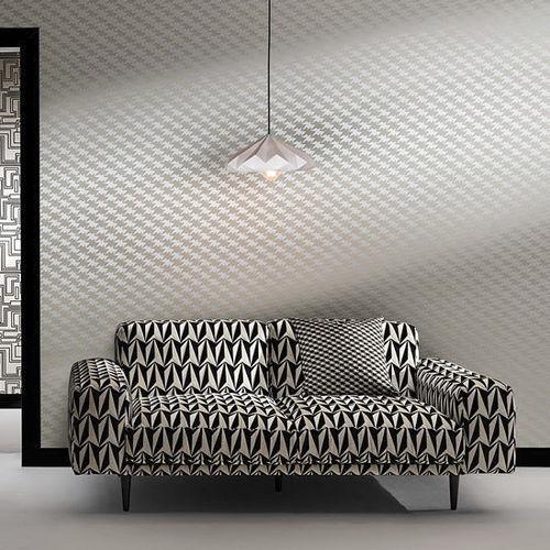 tissu d'ameublement / motif géométrique / en polyester / en coton