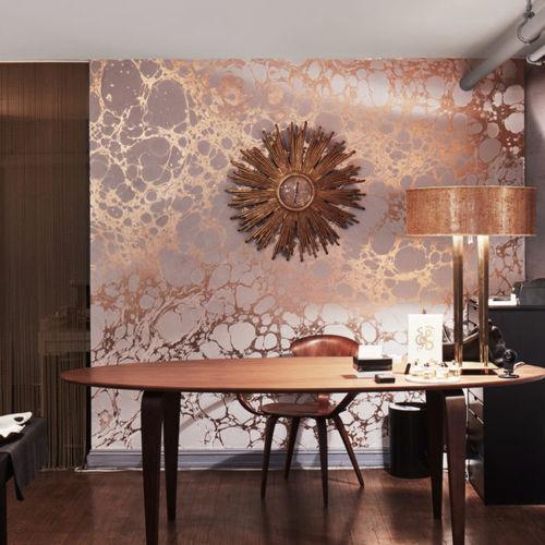 papier peint contemporain / motif abstrait / à effet dimensionnel / fait main