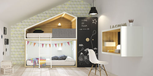 chambre d'enfant blanche / en bois / mixte