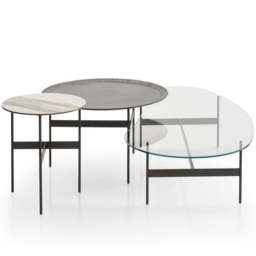 table basse contemporaine / en chêne / en verre / en acier peint