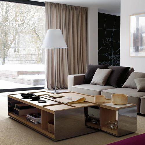 table basse contemporaine / en bois / en MDF / en tôle d'acier