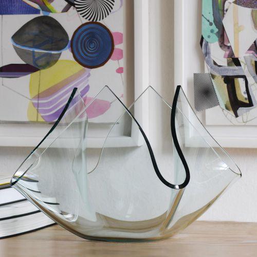 vase contemporain / en verre dépoli