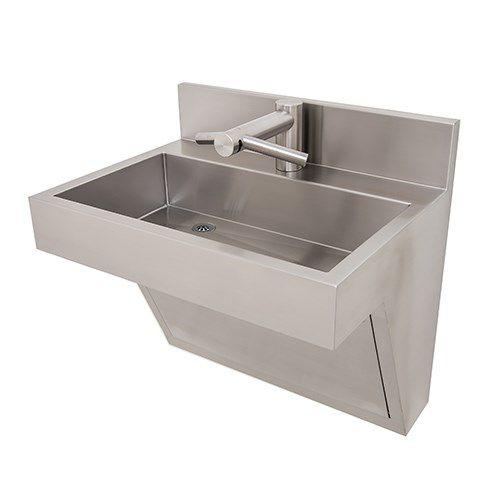 vasque suspendue / rectangulaire / en inox / contemporaine