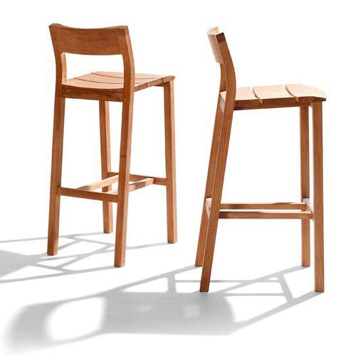 chaise de bar contemporaine / en teck / d'extérieur