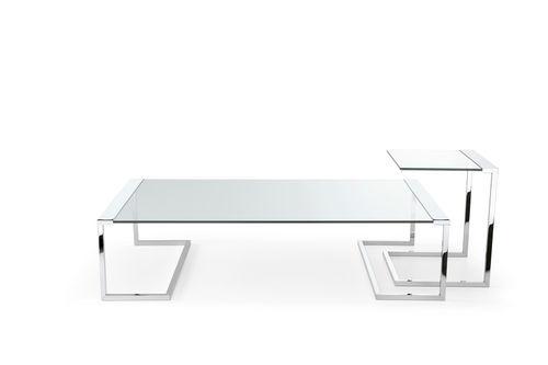table basse contemporaine / en métal / en verre trempé / rectangulaire