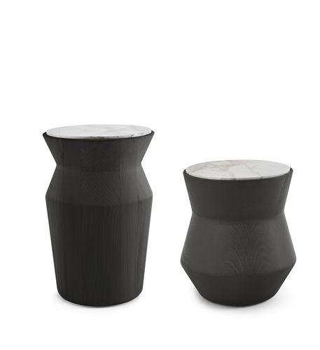 table d'appoint contemporaine / en marbre / en bois laqué / ronde