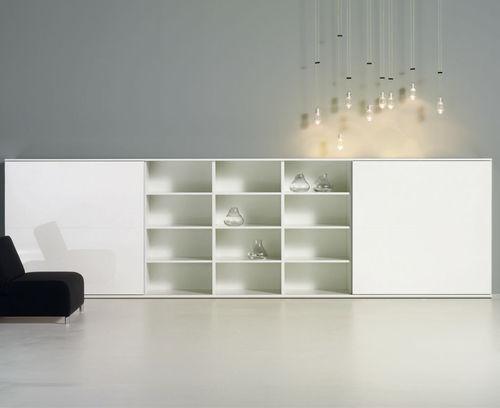 buffet contemporain / en bois laqué / en verre / blanc
