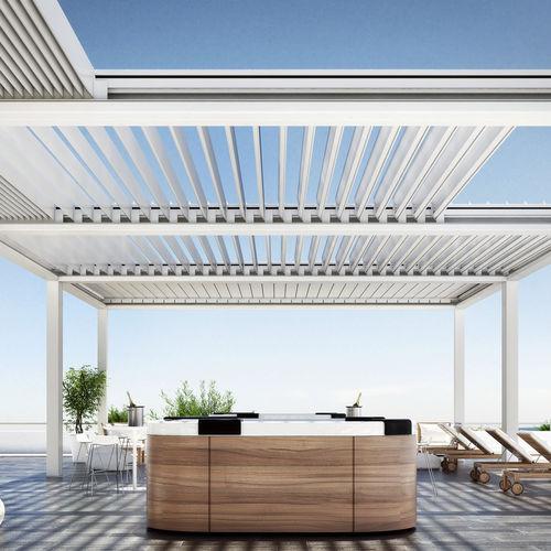 pergola autoportée / en aluminium / couverture coulissante / à lames brise soleil