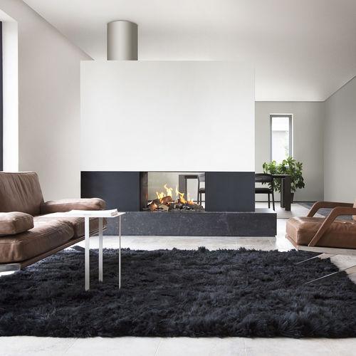 cheminée à gaz / contemporaine / à foyer fermé / centrale
