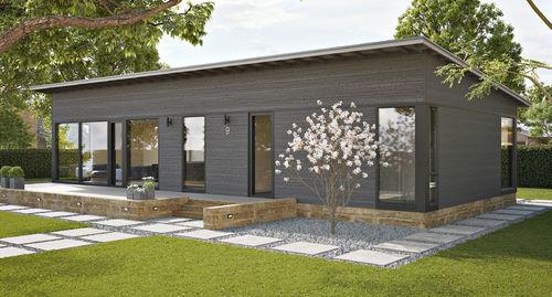 maison passive / individuelle / en bois massif empilé / contemporaine