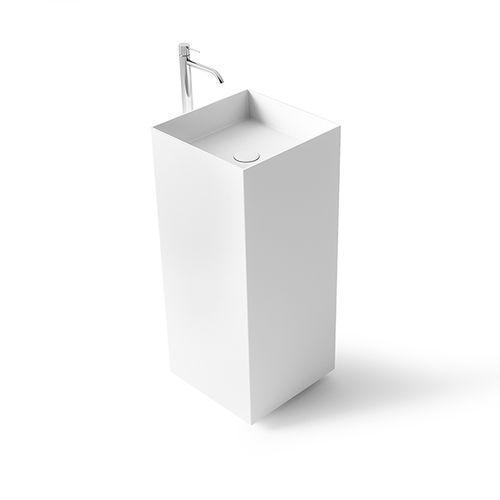 vasque sur pied / carrée / en Solid Surface / en fonte minérale