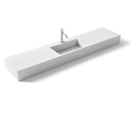 vasque suspendue / rectangulaire / en Solid Surface / en fonte minérale