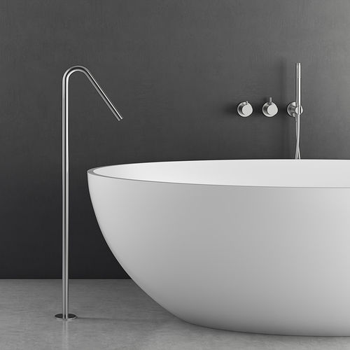 mitigeur pour baignoire / au sol / en inox / 1 trou