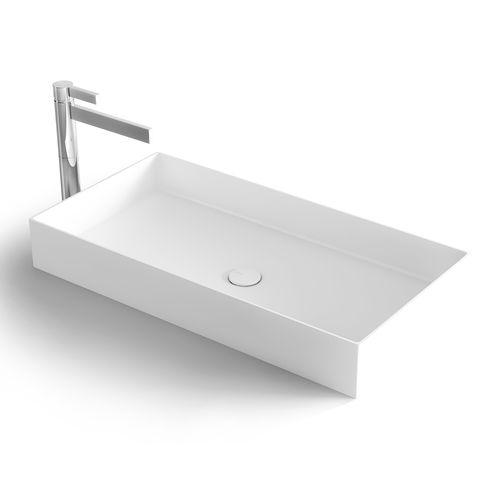 vasque à poser / rectangulaire / en Solid Surface / en résine