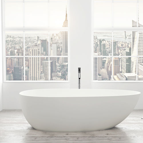 baignoire à poser / ovale / en Solid Surface / en résine acrylique