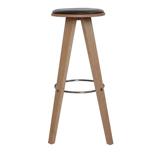 tabouret de bar design scandinave / en chêne / en cuir / professionnel