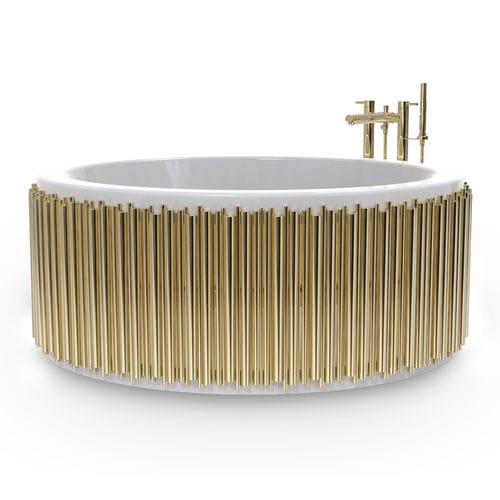 baignoire à poser / ronde / en fibre de verre / en laiton