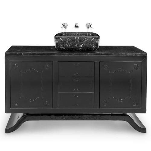 meuble vasque à poser / en bois laqué / en marbre / contemporain