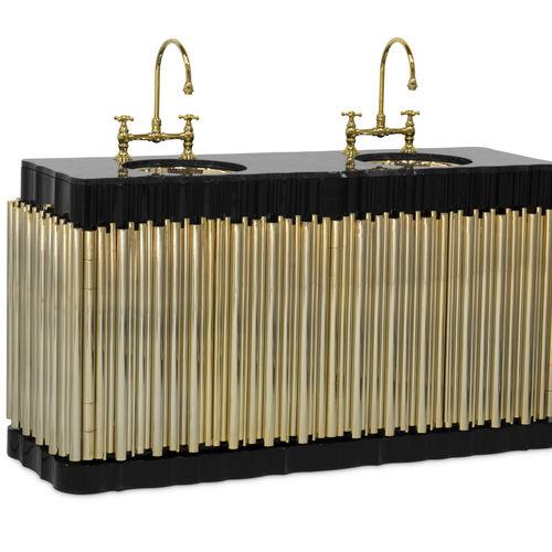 meuble vasque double / à poser / en laiton plaqué or / en marbre