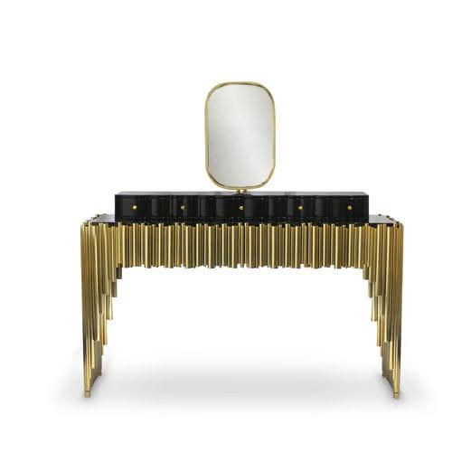 console design original / en laiton / rectangulaire / avec tiroir