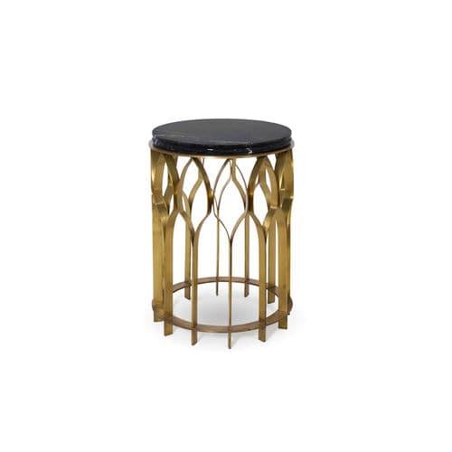 table d'appoint design original / en laiton / en marbre / ronde